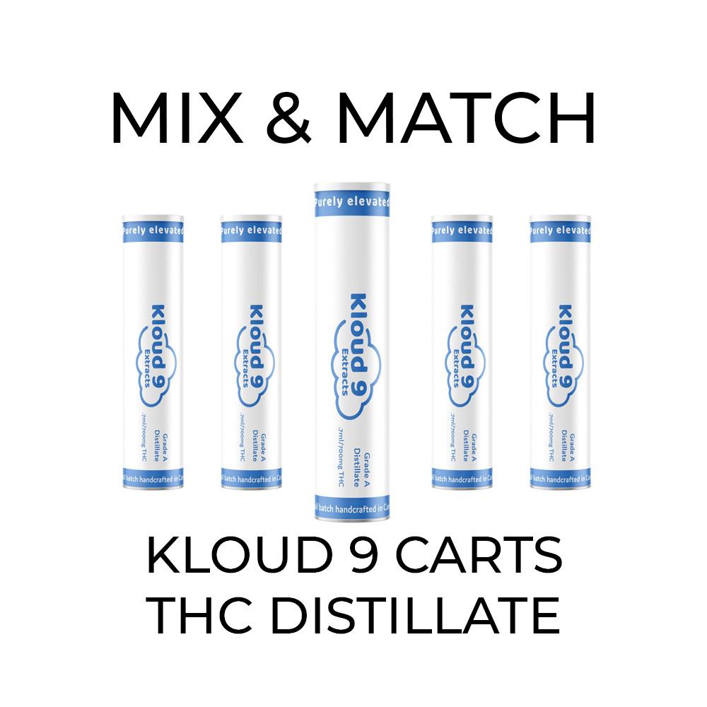 5 Pack Kloud 9 Distillate Cartridges - Mix and Match