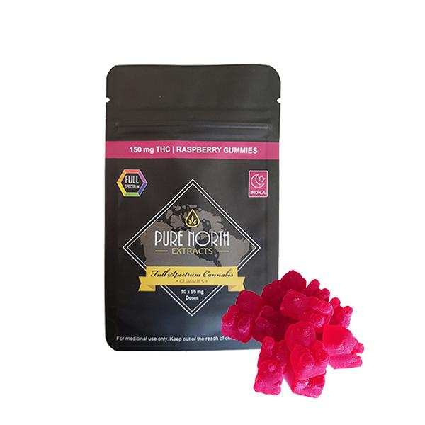 PNE Full Spectrum Gummies - INDICA/Raspberry - 150mg THC