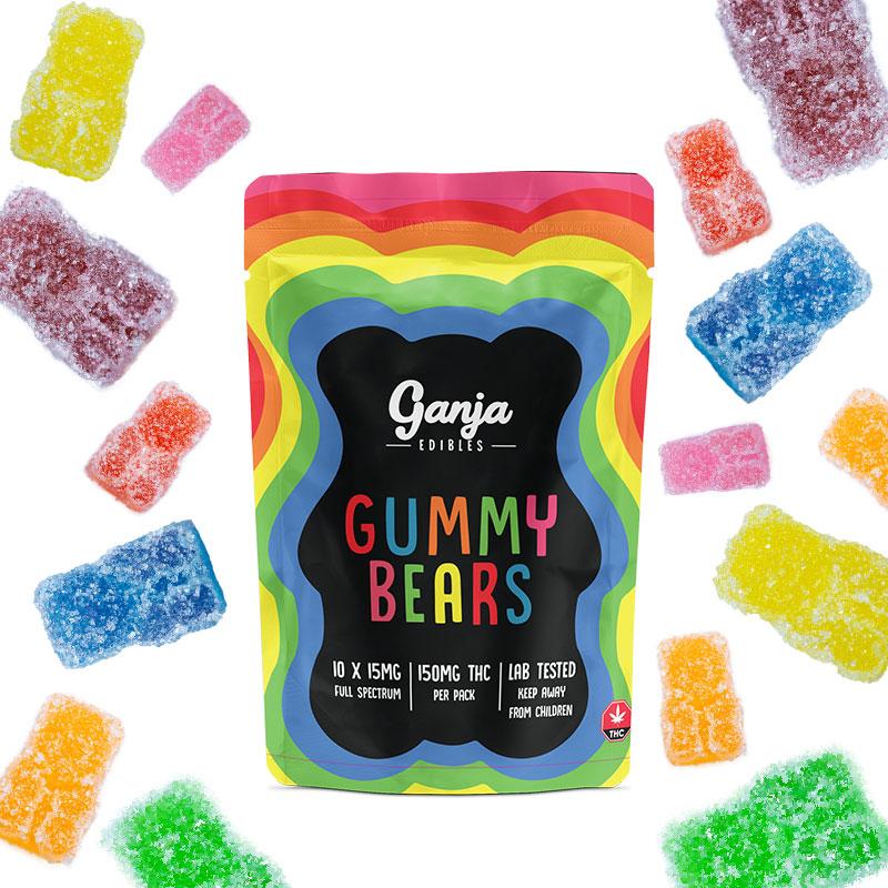 Ganja Bears Sour Gummies - 10 x 15mg THC (150mg Lab Tested)