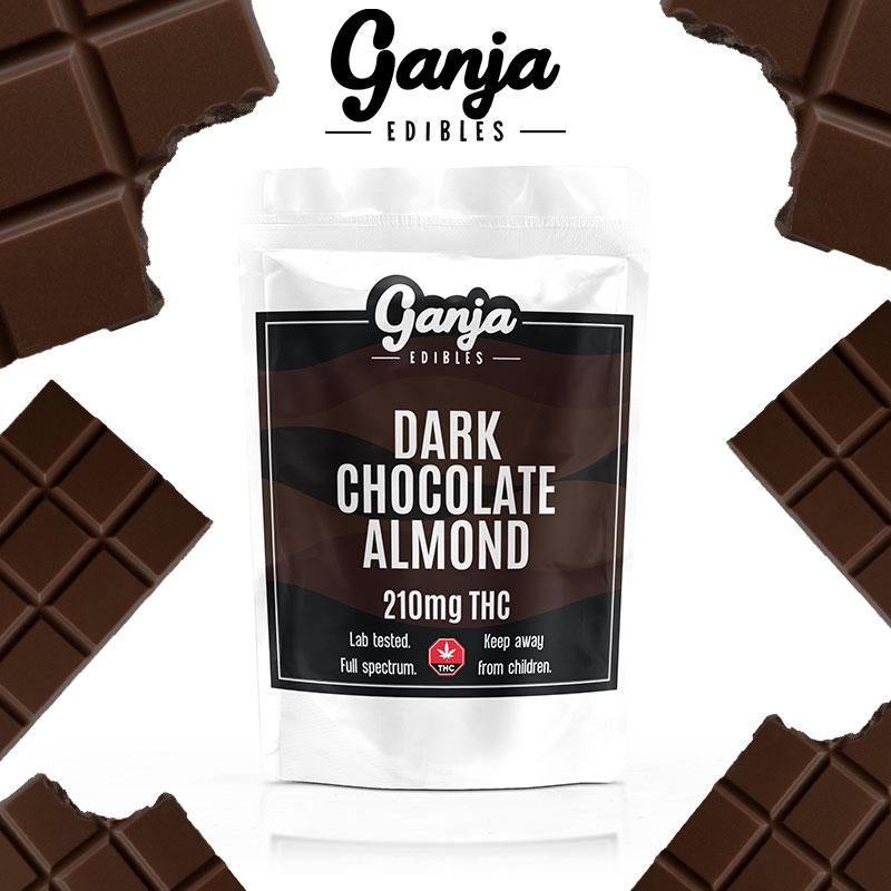Ganja Baked - Dark Chocolate Almond Bar 210mg THC (Vegan)